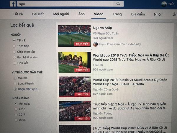 """Chỉ với từ khóa """"Nga"""", người dùng có thể thấy hàng trăm trang Facebook đang thực hiện livestream trái phép trận đấu giữa Nga và Ả Rập Saudi."""