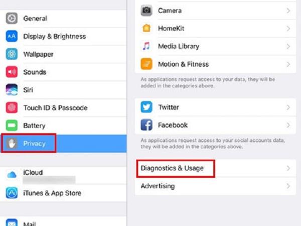 Thao tác tắt Diagnostics and Usage trên iPad sử dụng iOS 10