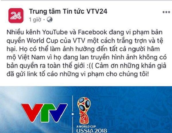 """Fanpage của VTV24 kêu gọi người dùng """"nói không với livestream lậu"""" đồng thời hỗ trợ gửi liên kết vi phạm cho nhà đài."""
