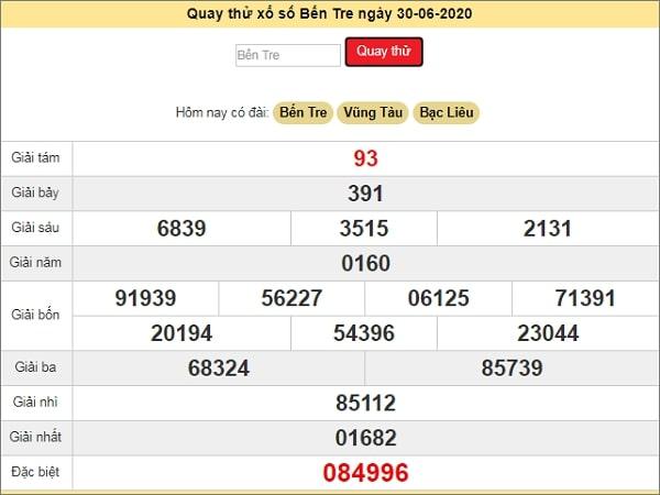 Quay thử KQXS Bến Tre ngày 30/6/2020